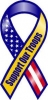 """Support Our Troops Ribbon Magnet - Blue Yellow - 4"""" x 8"""""""