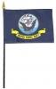 Navy Flag - Rayon Mounted Stick Flag