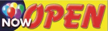 Now Open Vinyl Banner - 3' x 10' - BBL