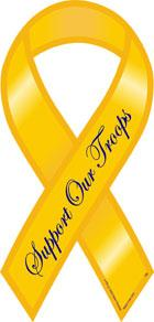 """Support Our Troops Ribbon Magnet - Yellow - 4"""" x 8"""""""