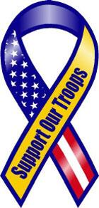 "Support Our Troops Ribbon Magnet - Blue Yellow - 4"" x 8"""
