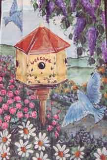 "25"" x 38"" Welcome Birdhouse Decorative Banner"
