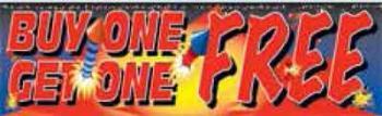 Buy One Get One Fireworks Vinyl Banner - 3' x 10' - FWKS102