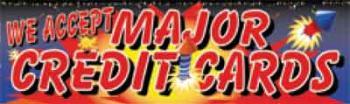 Major Credit Cards Fireworks Vinyl Banner - 3' x 10' - FWKS109