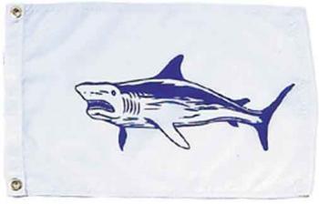 "Shark Nautical Fun Flag - Nylon - 12x18"""