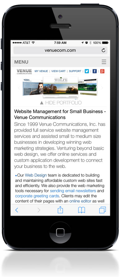 Our web site as seen on an iPhone