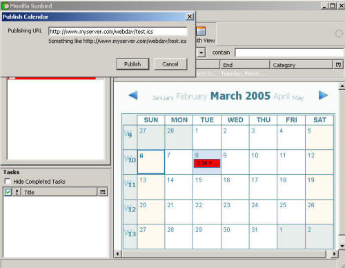 sunbird webdav calendar publishing