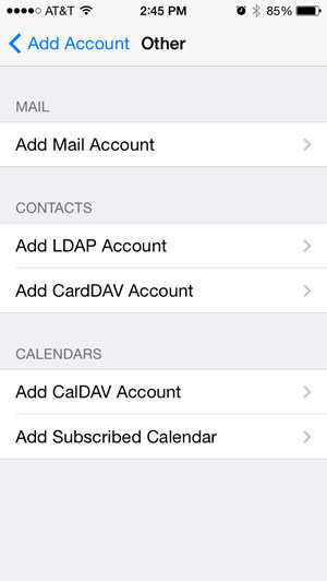 Subscribe to a WebDAV Calendar with iPhone