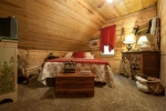 Upstairs bedrooms are carpeted