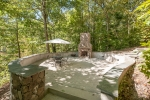 New outdoor stone fireplace and patio overlooking Hyco Lake