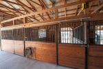6 stalls with smooth sliding doors and stall mats