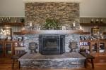 Wood burning stone fireplace