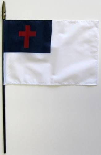 Christian Rayon Stick Flag - 8x12""