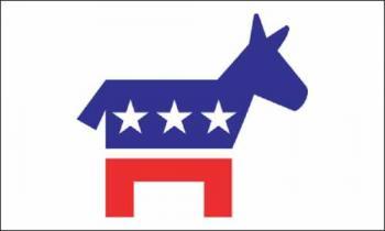 """4x6"""" Mounted Democratic Donkey Flag"""