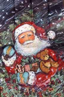 "25"" x 38"" Santa Snow Decorative Banner"