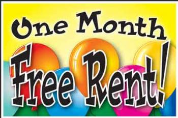 "One Month Free Rent Coroplast Yard Sign - 18"" x 24"" (BLNOMFR)"