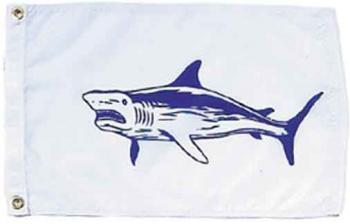 Shark Nautical Fun Flag - Nylon - 12x18""