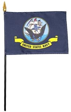 Navy Flag - Rayon Mounted Stick Flag