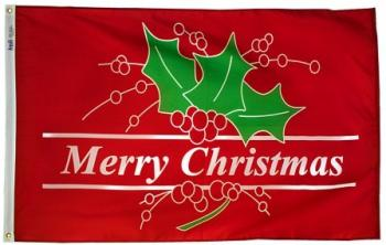 3x5' Merry Christmas Holiday Flag - Nylon Outdoor